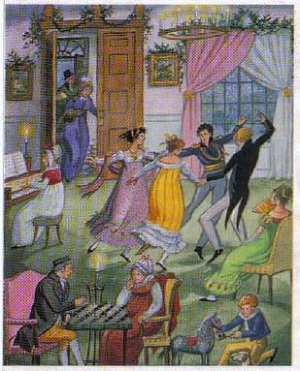 19th century lords and ladies enjoying Christmas traditions in England