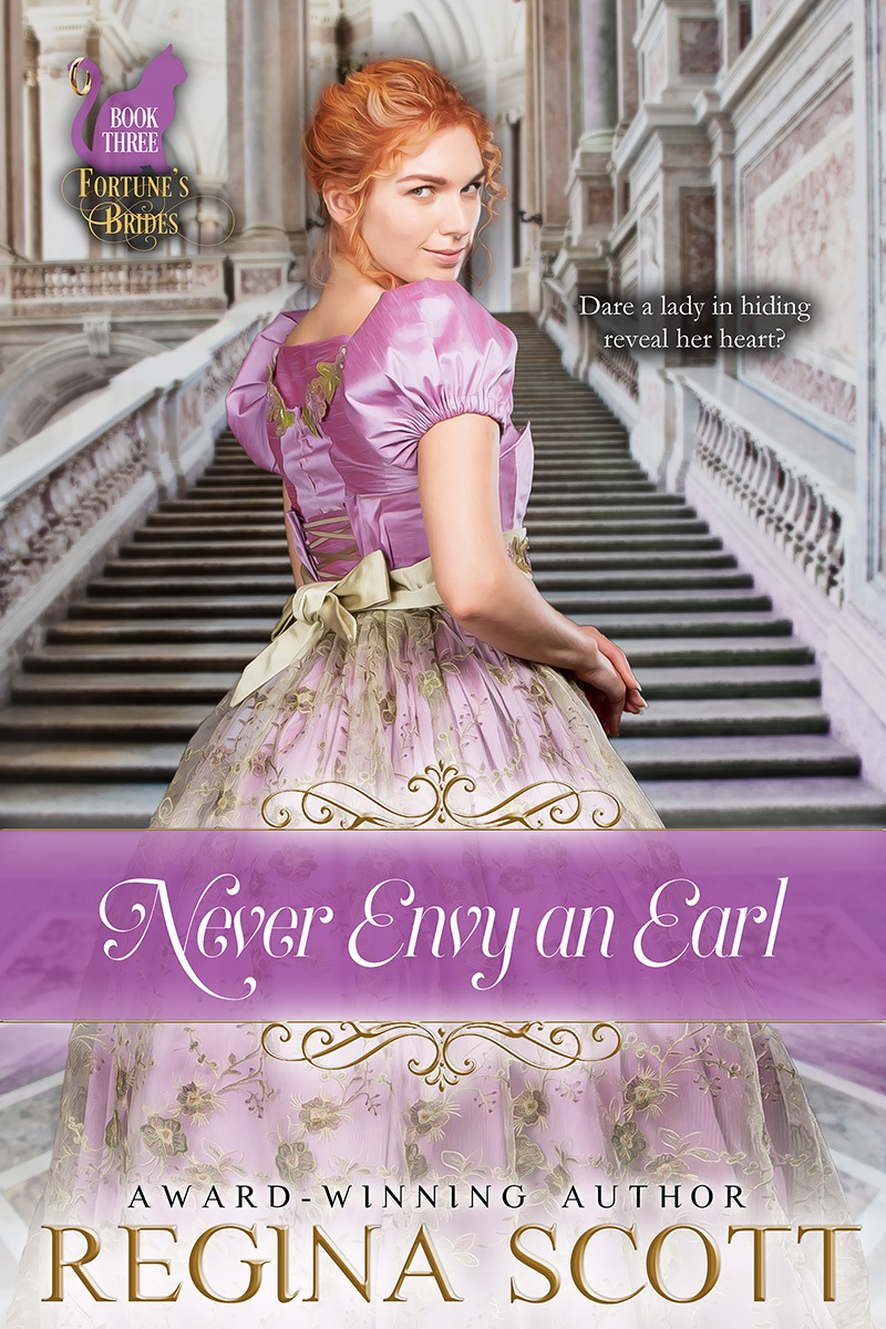 cover for Never Envy an Early, book 3 in the Fortune's Brides series, by historical romance author Regina Scott, showing a red-headed woman in a pretty purple dress glancing saucily over her shoulder as she starts climbing a stone staircase