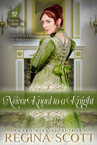 cover for Never Kneel to a Knight, book 5 in the Fortune's Brides series by historical romance author Regina Scott, showing a red-headed woman standing in a classic white and gold room and smiling over her shoulder at the reader